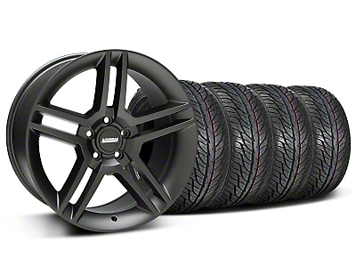 Staggered Matte Black 2010 Style GT500 Wheel & General Tire Kit - 19x8.5/10 (05-14 All)