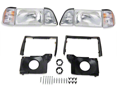Stock OE Headlights and Adjusting Plate Kit (87-93 All)