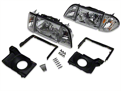 Chrome Headlights and Adjusting Plate Kit (87-93 All)