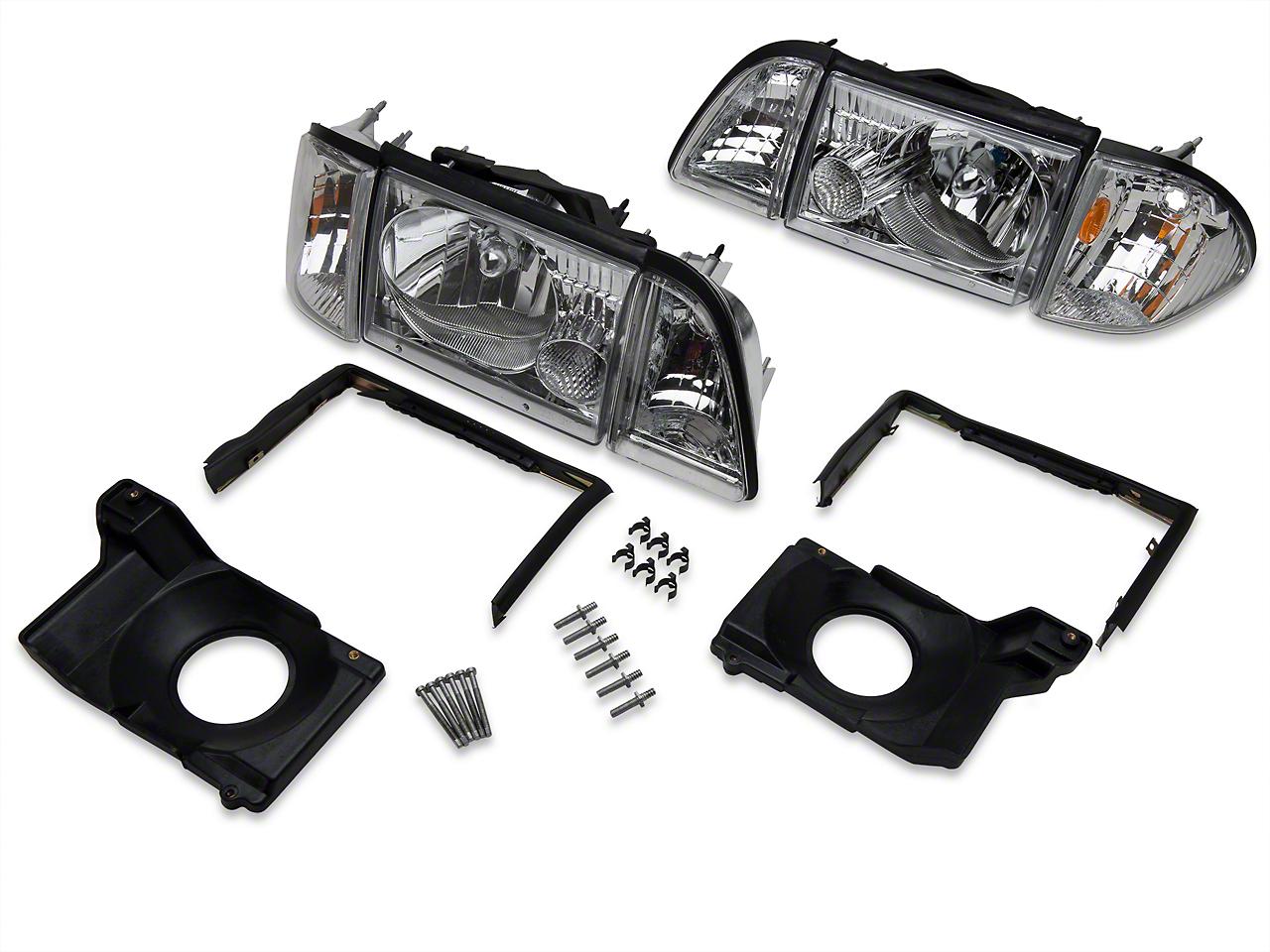 Chrome Headlights and Adjusting Plate Kit (87-93 All)