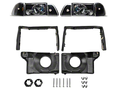 Black Headlights and Adjusting Plate Kit (87-93 All)