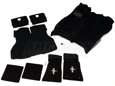 Floor Carpet, Hatch Carpet and Pony Logo Floor Mat Kit - Black (87-93 All)