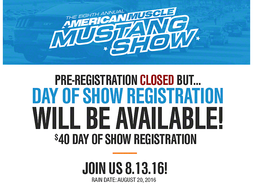8th Annual AmericanMuscle Mustang Show - Registration Open