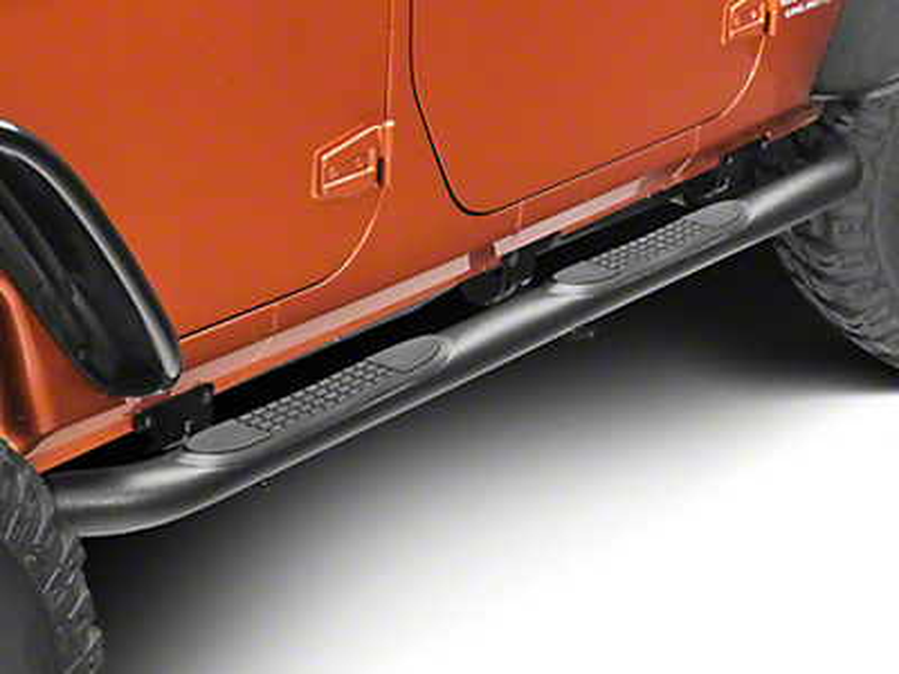 RedRock 4x4 3 in. Curved Round Side Step - Textured Black (07-17 Wrangler JK 4 Door)