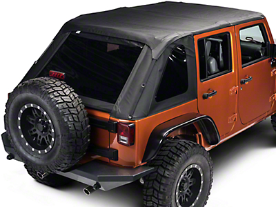 Rampage Frameless Trailtop Soft Top Kit, Black Diamond Sailcloth w/ Tinted Windows (07-17 Wrangler JK 4 Door)