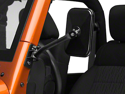 Rugged Ridge Quick Release Mirror Kit, Textured Black, Rectangle (97-16 Wrangler TJ & JK)