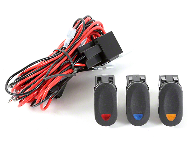 rugged ridge wrangler light installation wiring harness w 3 rocker switch 3 lights 15210 73