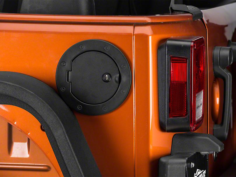 Rugged Ridge Locking Gas Cap Door - Textured Black (07-17 Wrangler JK)