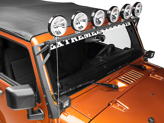 Raxiom Light Bar Mount Brackets - Black Steel (07-17 Wrangler JK)