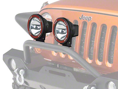 Rugged Ridge 2 HID Offroad Wrangler Fog Lights, Black, 5 in. Round w/Composite Housing & Wiring ...