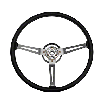 Omix-ADA Sport Steering Wheel w/ 3 Metal Spoke Design - Black (87-95 Wrangler YJ)