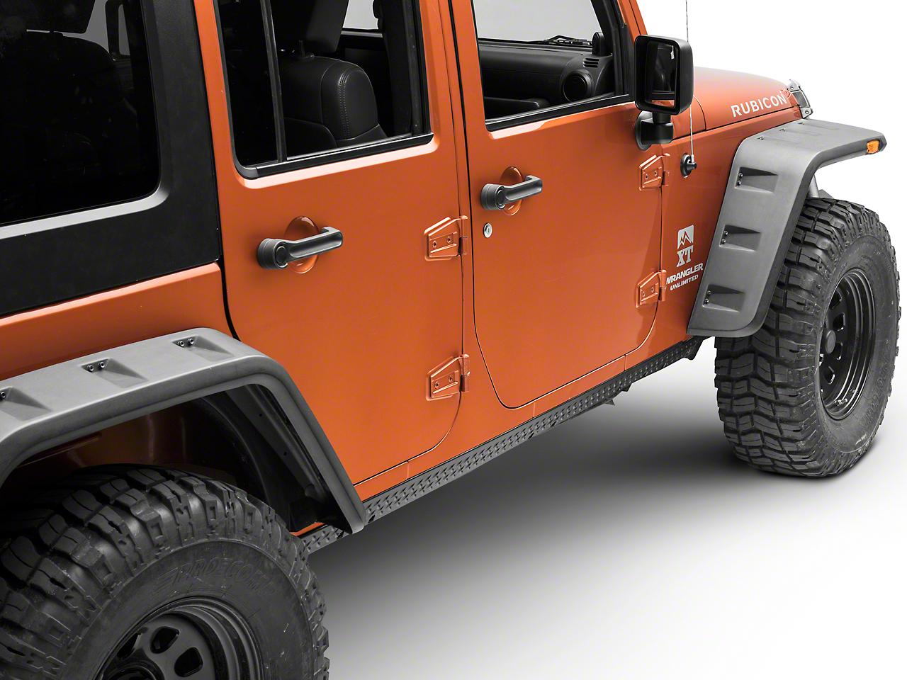Rugged Ridge Body Armor Rocker Side Panel Kit - Pair, Black (07-16 Wrangler JK 4 Door)