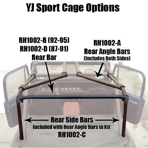 Rock Hard 4x4 Parts Rear Side Bar and Angle Bar Kit (87-91 Wrangler YJ)