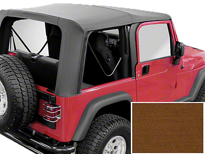 Rugged Ridge XHD Replacement Soft Top w/o Door Skins, Tinted Windows, Dark Tan (97-02 Wrangler TJ w/ Factory Soft Top)
