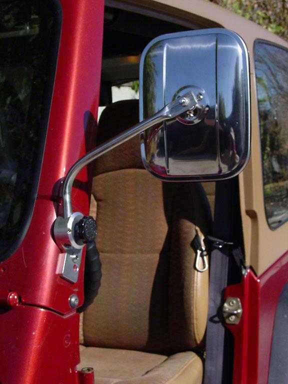 Lange Mirror II, Polished Aluminum (87-06 Wrangler YJ & TJ)