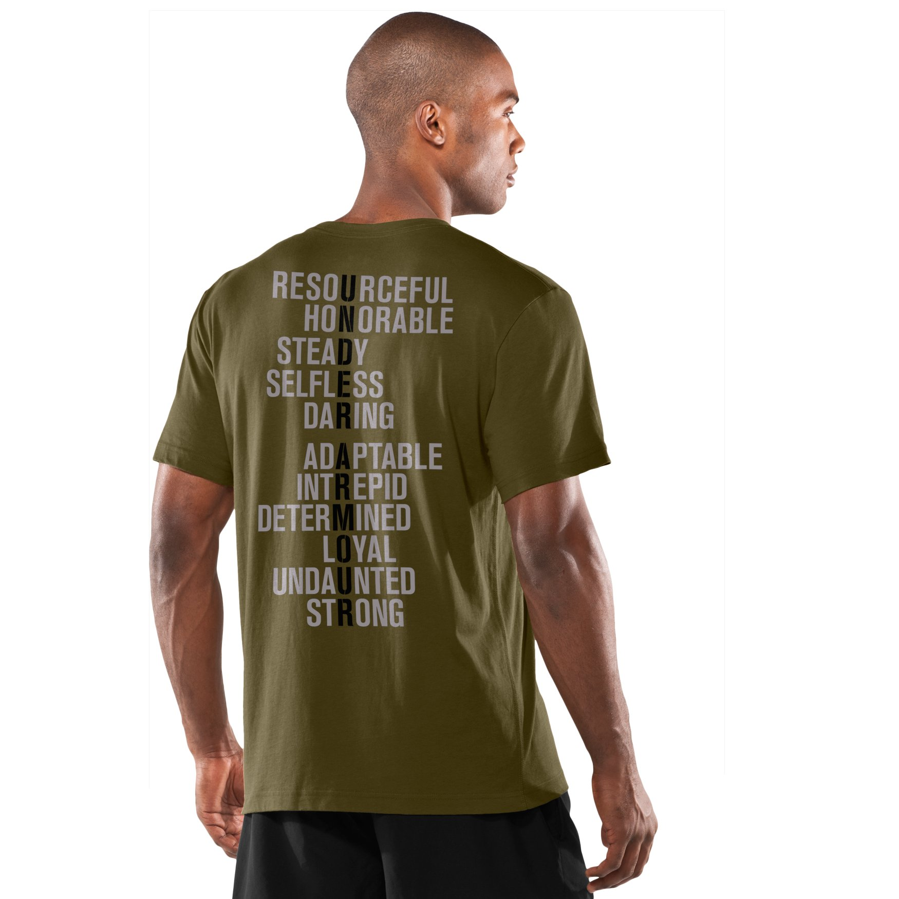 Under Armour Mens UA Tactical Attributes T Shirt-Shirt Medium Marine OD Green
