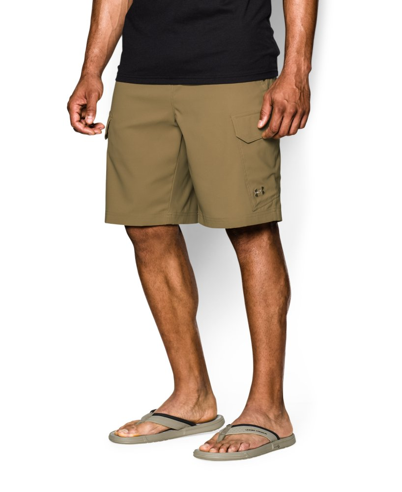 Men 39 s under armour fish hunter cargo shorts ebay for Under armour fishing shorts