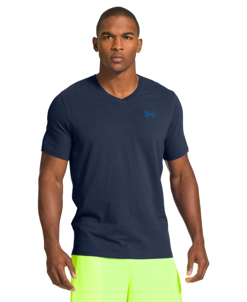 Under armour men 39 s charged cotton v neck t shirt ebay for Under armour charged shirt