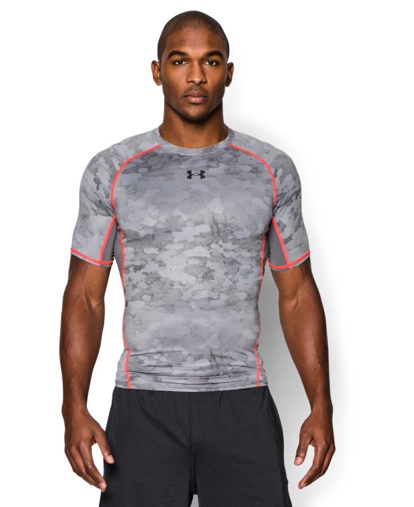 Men 39 s under armour heatgear armour printed short sleeve for Printed under armour shirts
