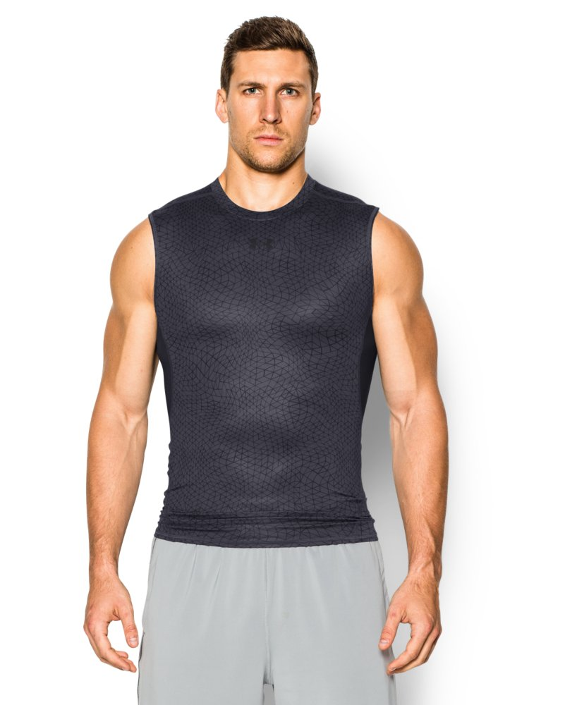 Mens under armour heatgear armour printed sleeveless for Printed under armour shirts