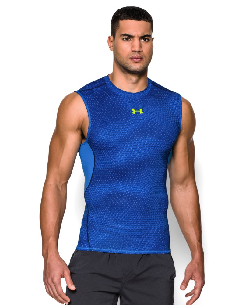 Men 39 s under armour heatgear armour printed sleeveless for Printed under armour shirts