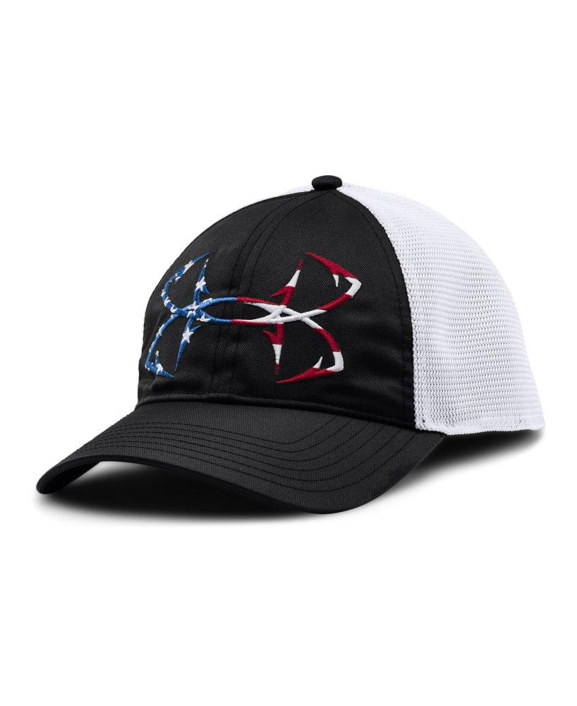 Men 39 s under armour fish hook flag logo cap ebay for Under armor fishing hat