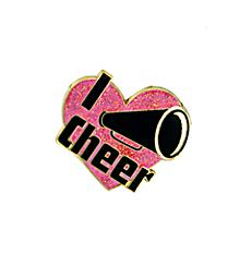 I Heart Cheer Megaphone Pin