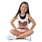 Youth Animal Print Heart Loose Tank - Cheer