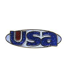USA Glitter Logo Pin
