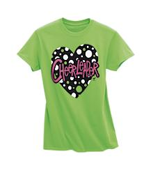Cheerleader Heart Hot Green Tee