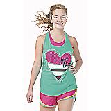 Aqua Love Cheer Twist Back Loose Tank