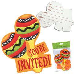 Fiesta Stripes Invitations 8 Pack