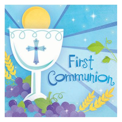 Blue First Communion Lunch Napkins 16 Pack