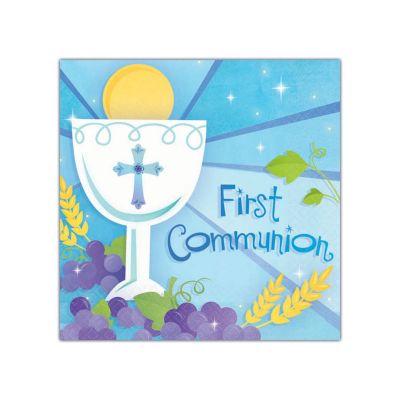 Blue First Communion Beverage Napkins 36 Pack