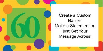 60th Birthday Dots Custom Banner