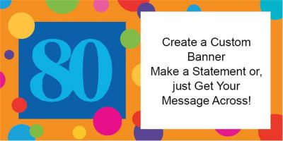 80th Birthday Dots Custom Banner