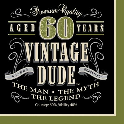 Vintage Dude 60 Lunch Napkins 16 Pack