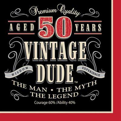 Vintage Dude 50 Lunch Napkins 16 Pack