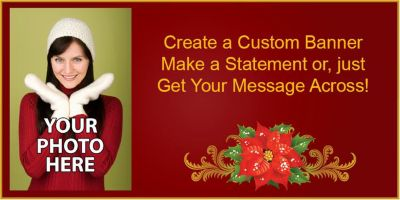 Poinsettia Custom Photo Banner
