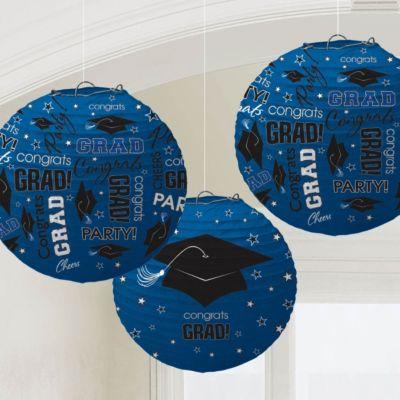 Blue Congrats Grad Lanterns3 Per Unit