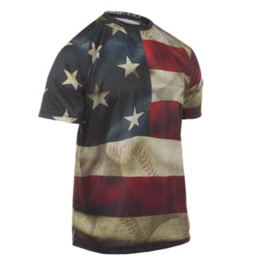 Men's USA Baseball Flag INK Short Sleeve Shirt