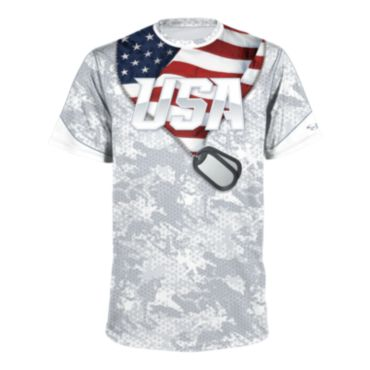 Men's USA Dog Tags Short Sleeve Shirt