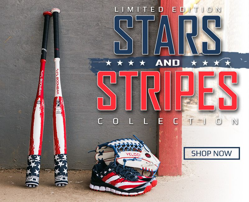 Boombah Special Edition Stars and Stripes BOSS Bats, Turfs, and Fieling Gloves
