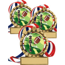 "2 3/4"" Super Saver Football Spin Medal Package Deal - 15 Football Medals"