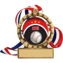 "Baseball Medal - 2 3/4"" Antique Gold 2016 Baseball Spin Medal w/ 30"" Red, White and Blue Neck Ribbon"