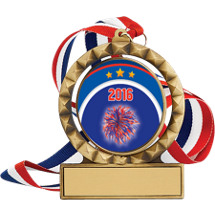 """2 3/4"""" Antique Gold 2016 Cheer Spin Medal w/ 30"""" Red, White and Blue Neck Ribbon"""