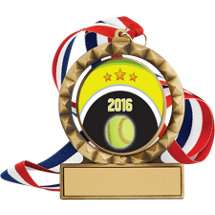 """Softball Medal - 2 3/4"""" Antique Gold 2016 Softball Spin Medal w/ 30"""" Red, White and Blue Neck Ribbon"""
