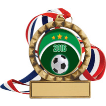 "Soccer Medal - 2 3/4"" Antique Gold 2016 Soccer Spin Medal w/30 in. Red White and Blue Neck Ribbon"
