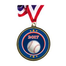 """Baseball Medal - 2 1/2"""" Antique Gold 2017 Baseball Medal w/ 30"""" Red, White and Blue Neck Ribbon"""