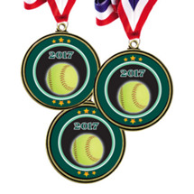 "Softball Medals - 2 1/2"" 2017 Super Saver Softball Medal Package Deal - Set of 15"